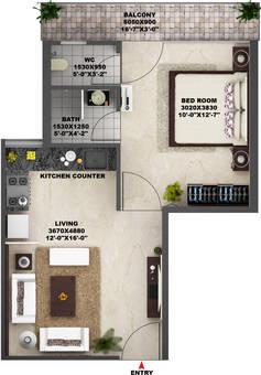 1 BHK floor plan AVL 36