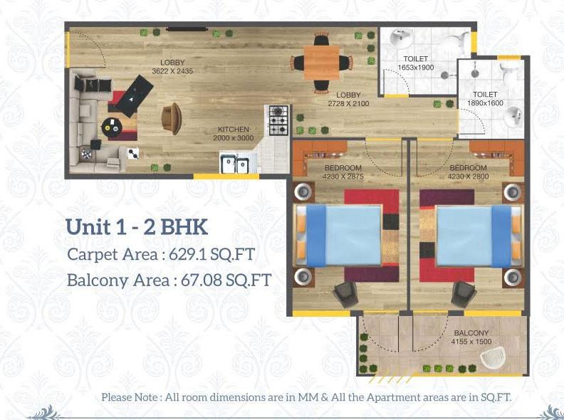 2 BHK Floor plan unit type 2