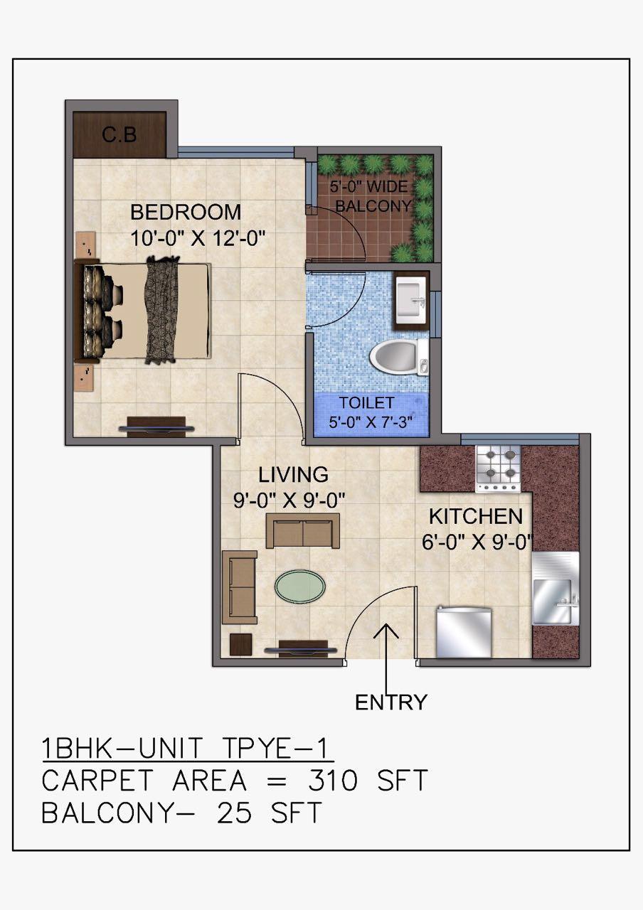 1 BHK Floor Plan Unit type 1 GLS avenue 51