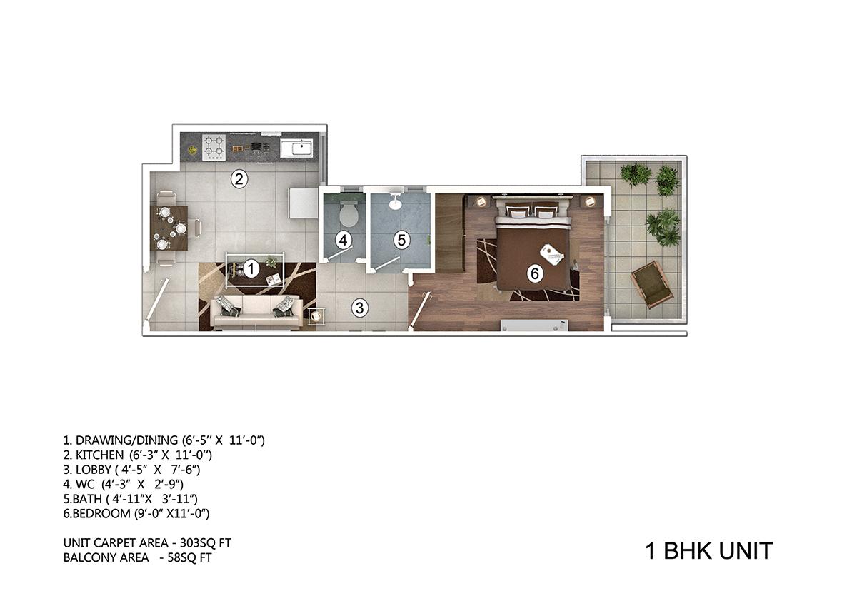 1 BHK floor plan pivotal paradise