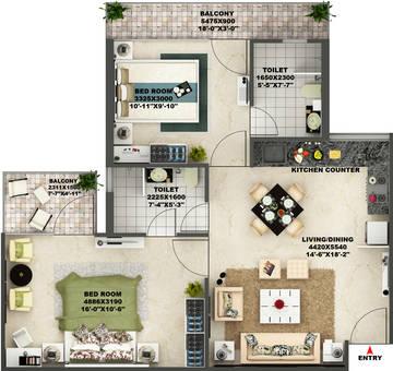 2 BHK Floor Plan AVL 36