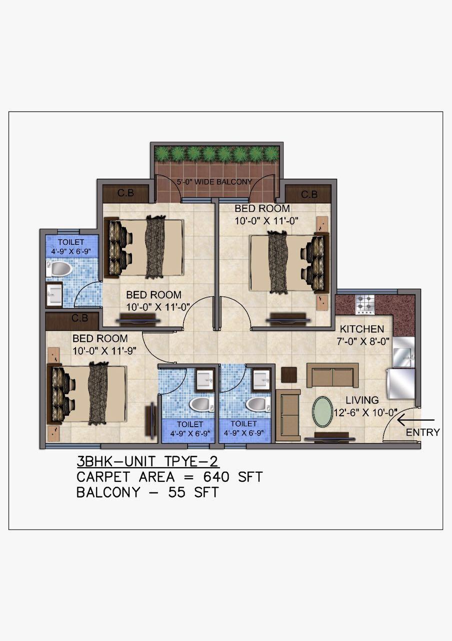 3 BHK Unit type - 2 Floor plan