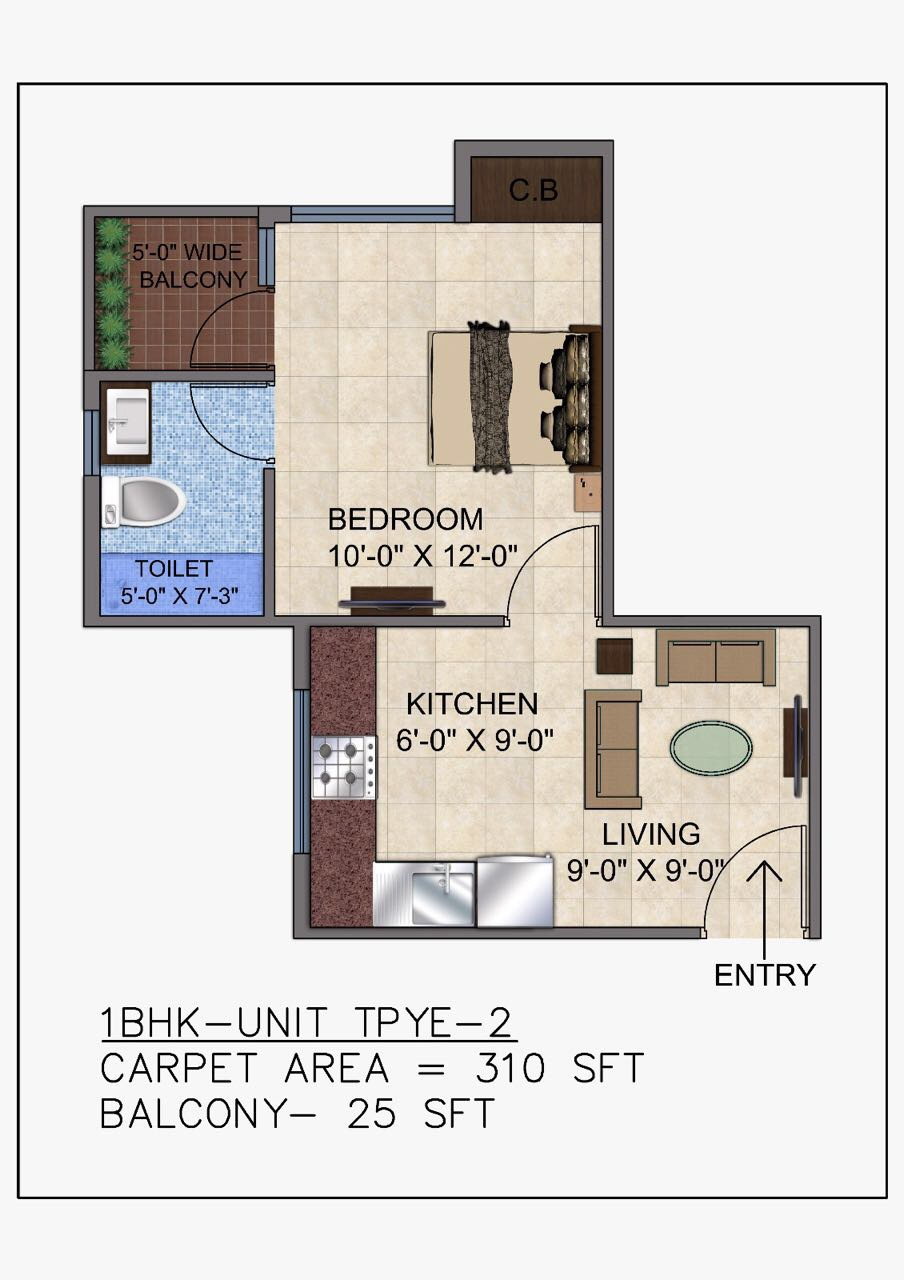 1 BHK Floor Plan Unit type 2 GLS avenue 51