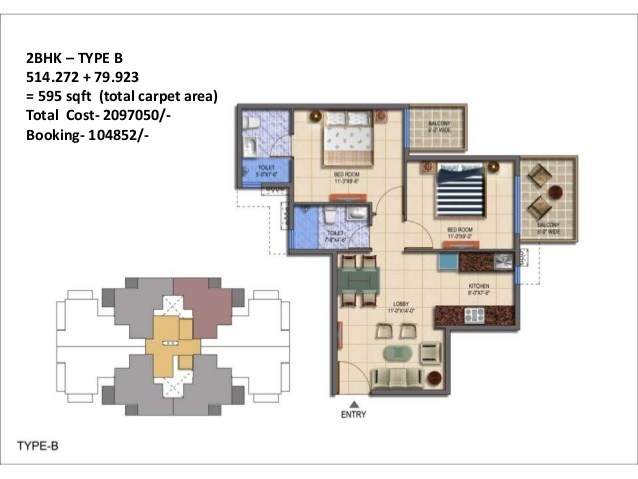 2 BHK floor plan signature global the roselia