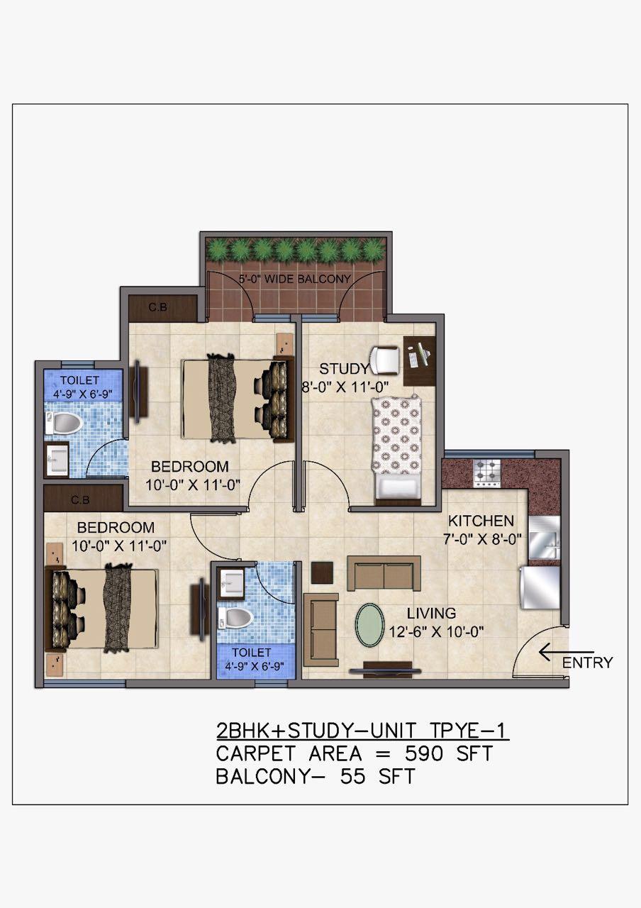 2 BHK Floor plan unit type 1