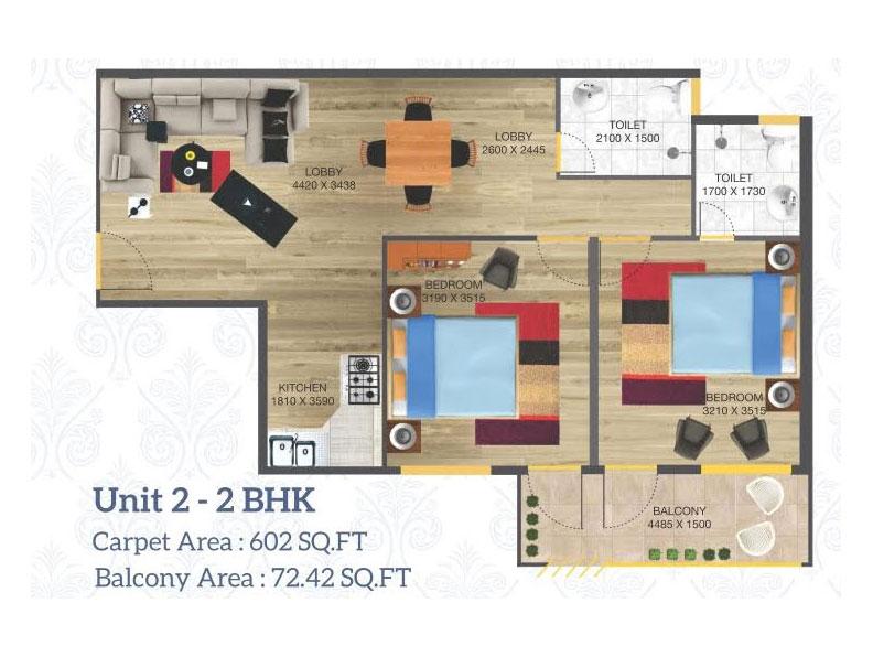 2 BHK floor plan