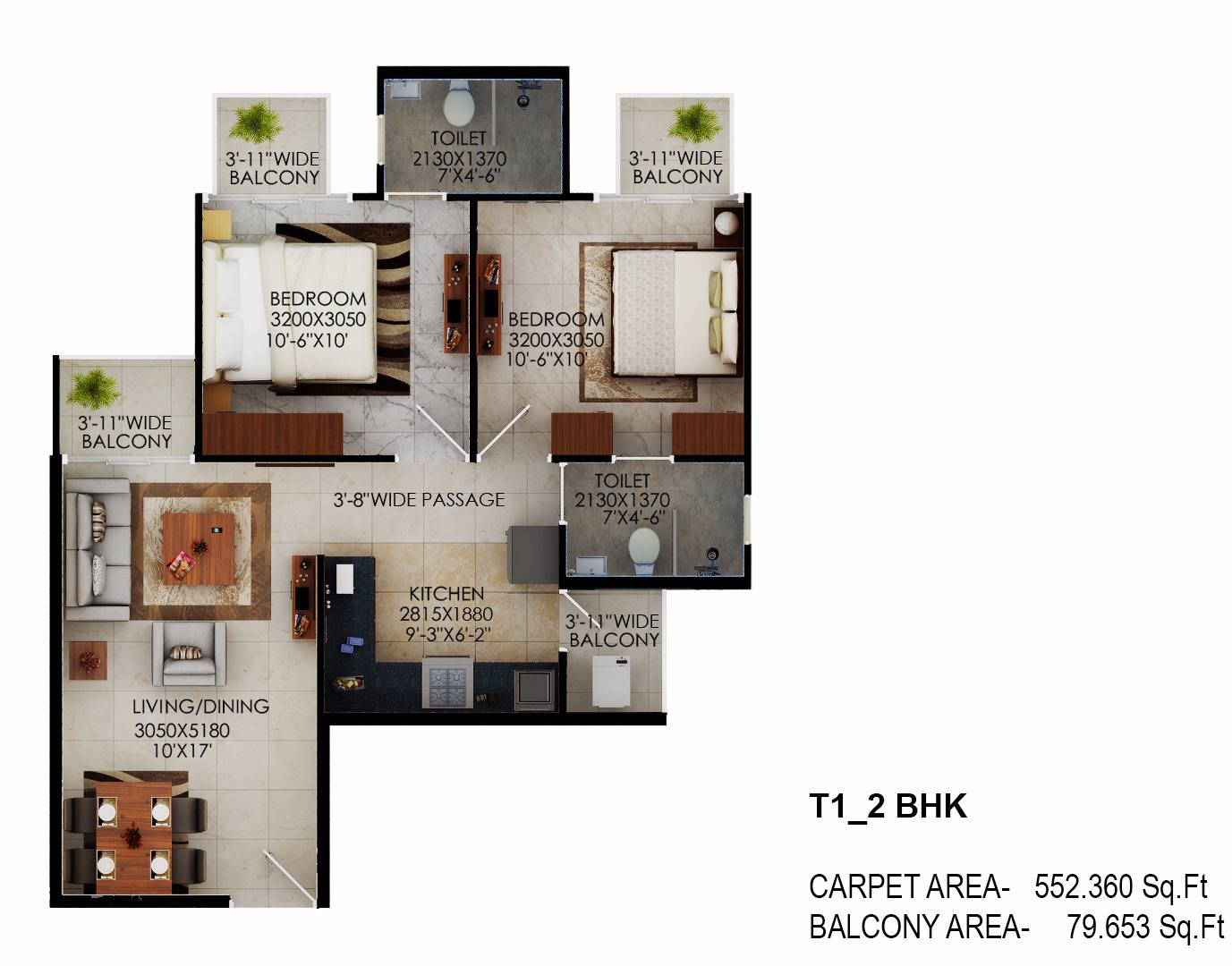 Tower 1 Signature millennia floor plan